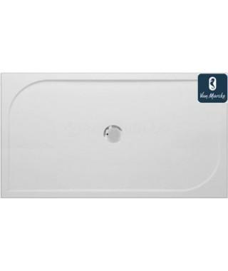 ARGON Tub de douche en polybeton gelcoat blanc 160x90x3cm